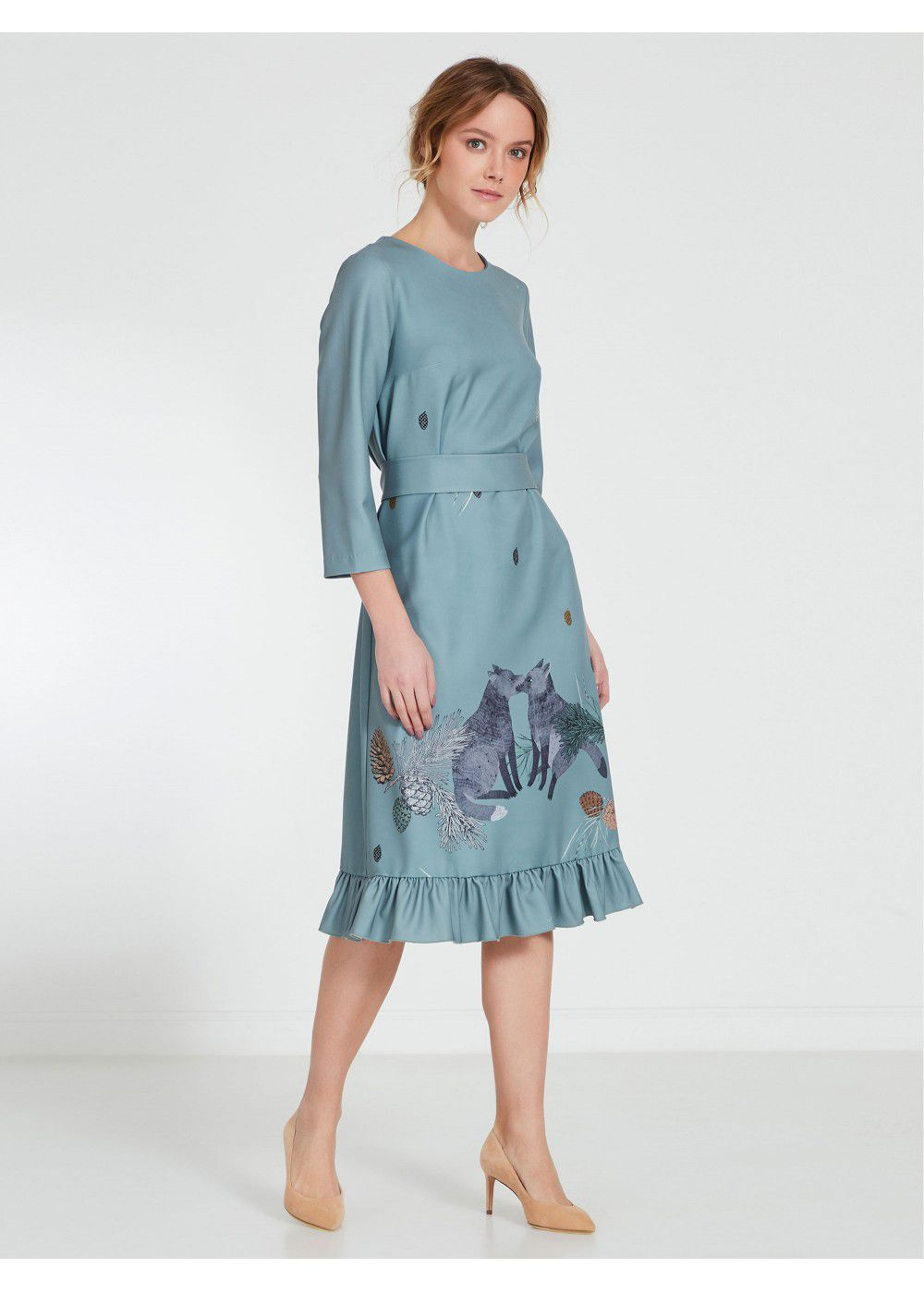Akhmadullina Dreams Icy Blue Print Dress