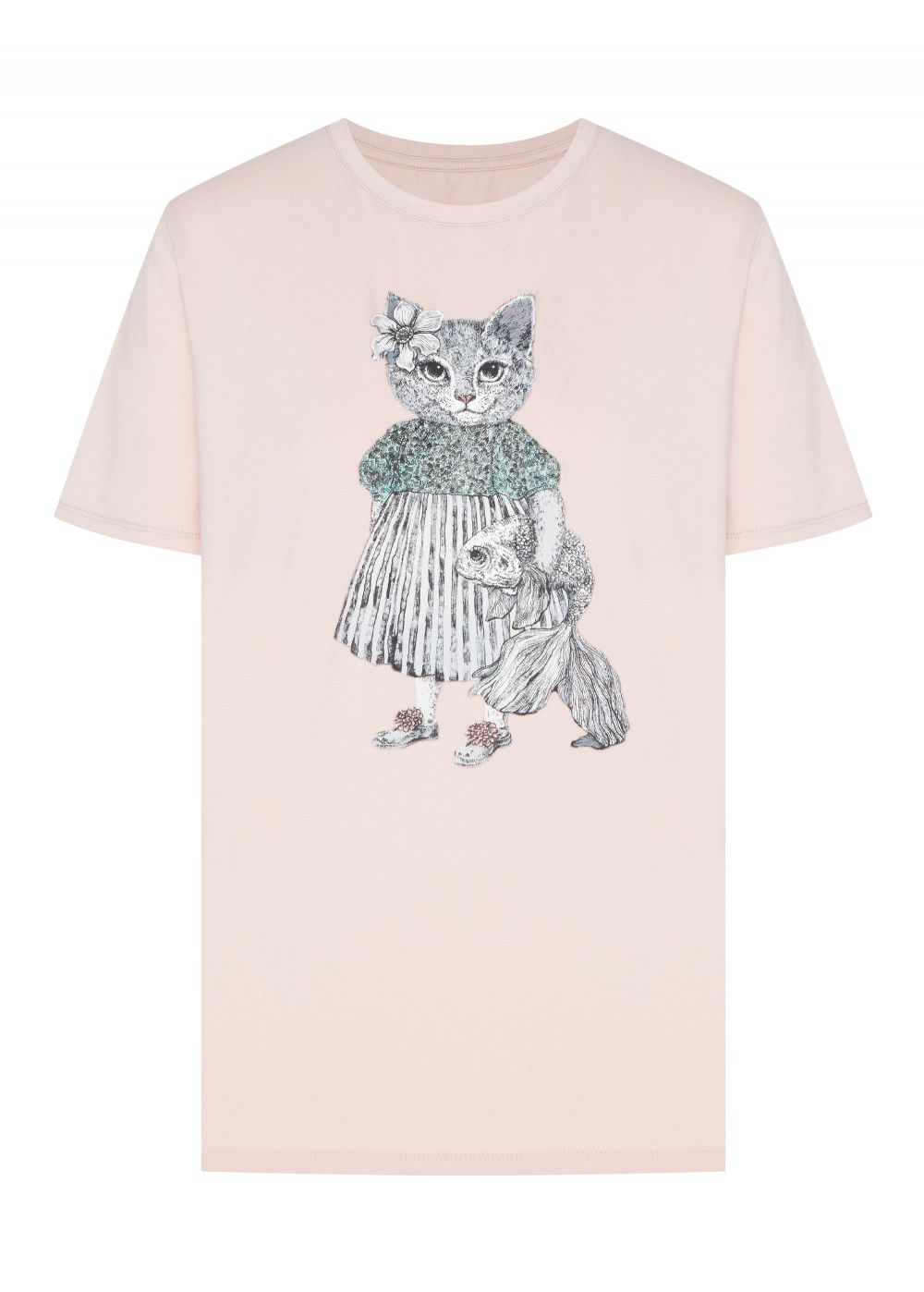 Akhmadullina Dreams Knitted T-Shirt with Cat Print in Pink