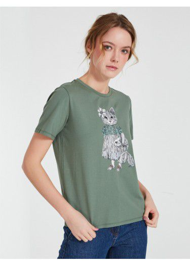 Akhmadullina Dreams Knitted T-Shirt with Cat Print in Mint
