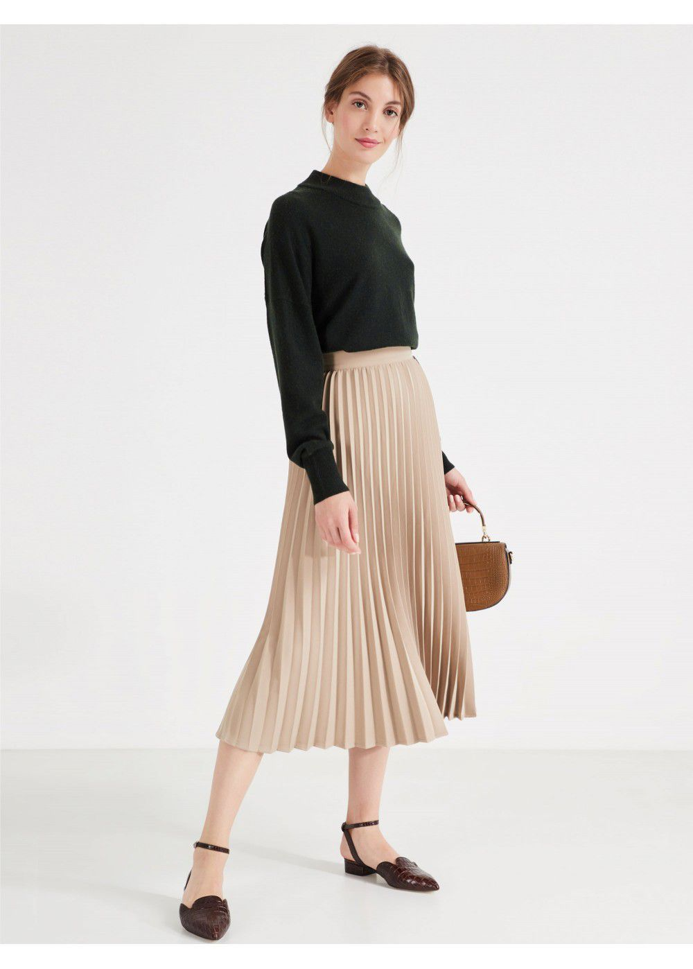 Akhmadullina Dreams Pleated Beige Skirt
