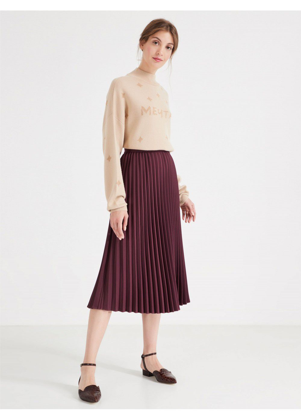 Akhmadullina Dreams Pleated Burgundy Skirt