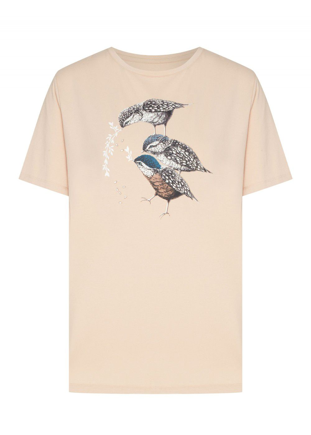 Akhmadullina Dreams Knitted T-Shirt with Sparrow Print