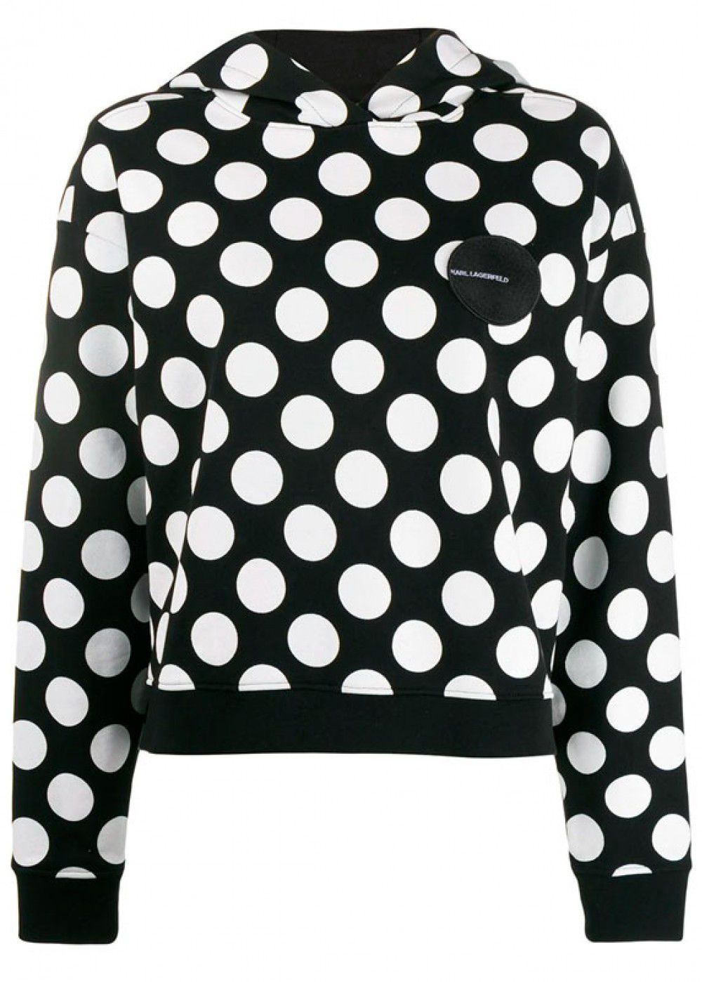 Karl Lagerfeld Logo Patch Dotted Hoodie