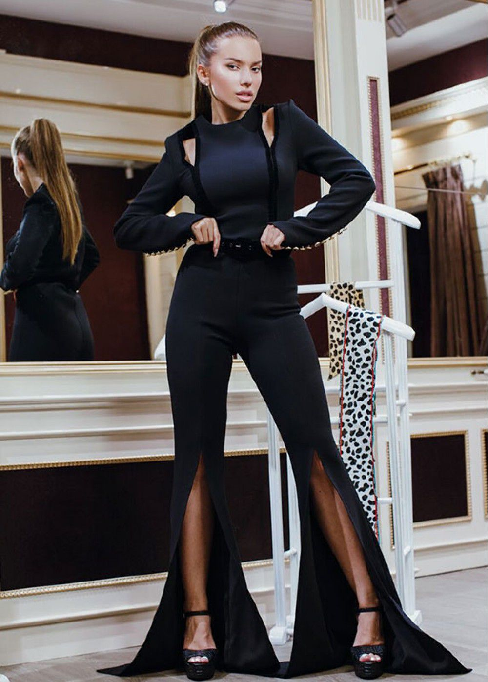 Maleone Jumpsuit with cuts Black