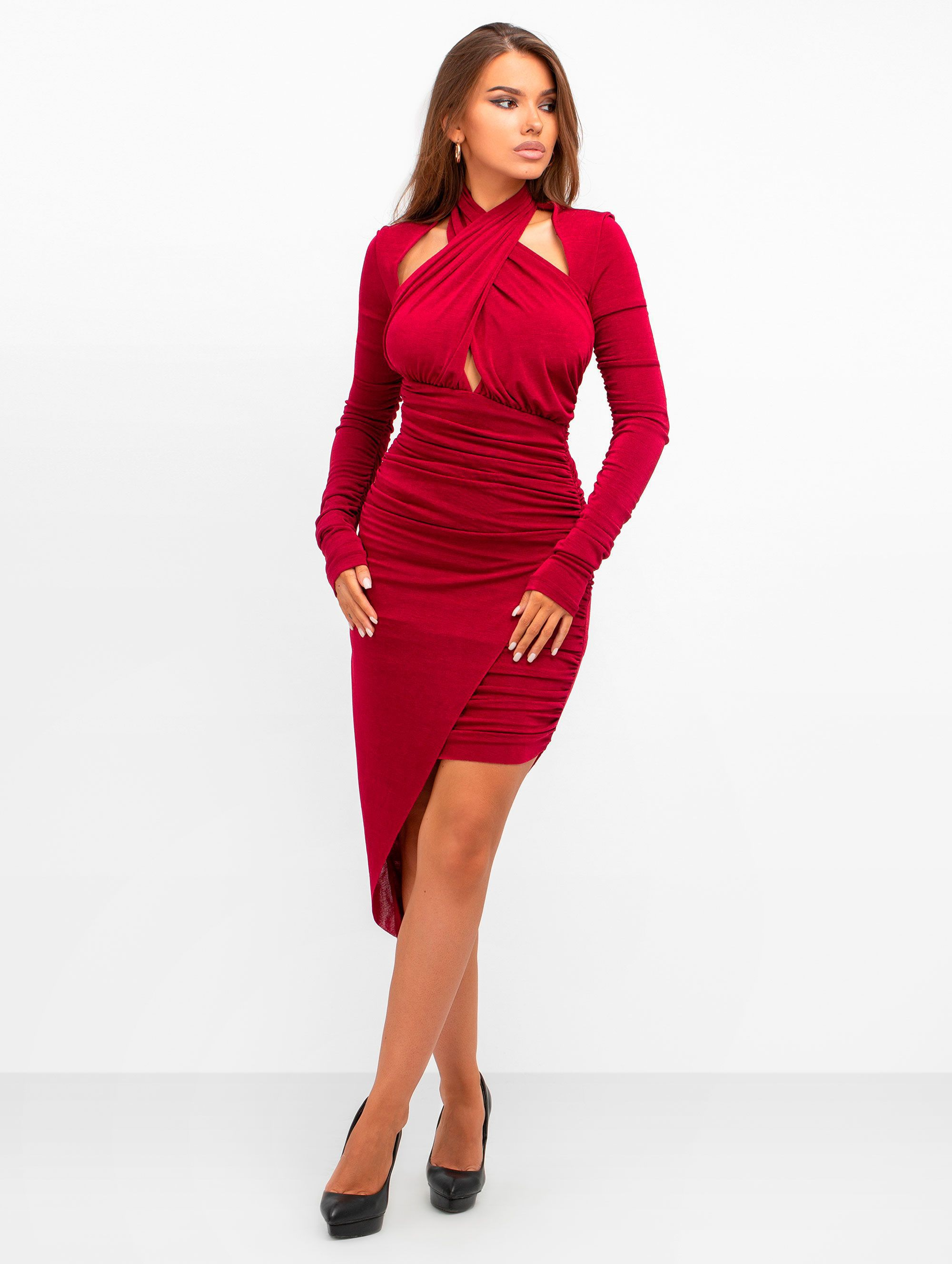 Misha Collection Veroni Jersey Burgundy Mini Dress