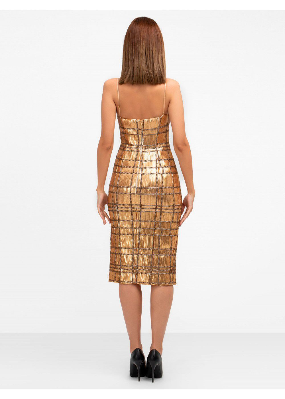 Misha Collection Yvette Sequin Gold Dress