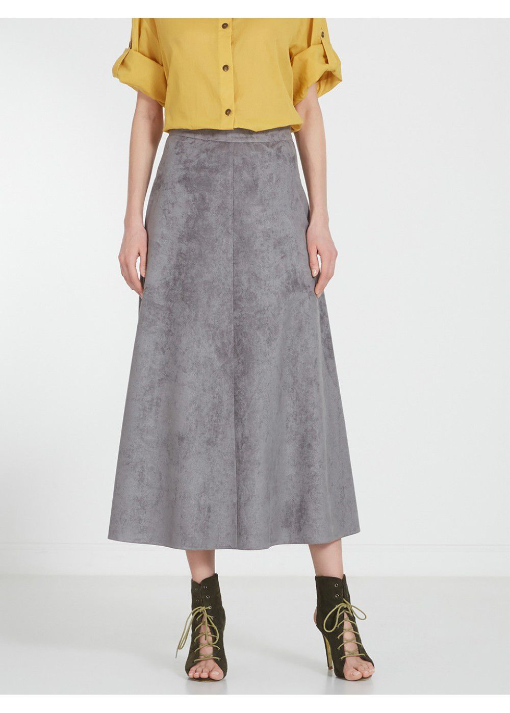 A La Russe Suede Skirt in Grey