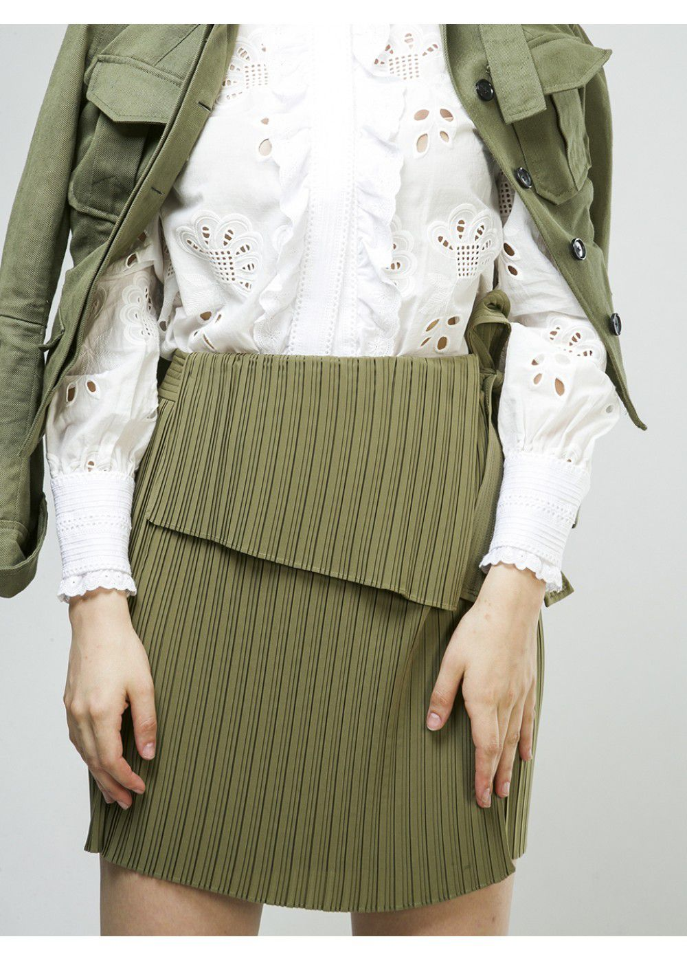 A.L.C. Green Kelsey Skirt Army