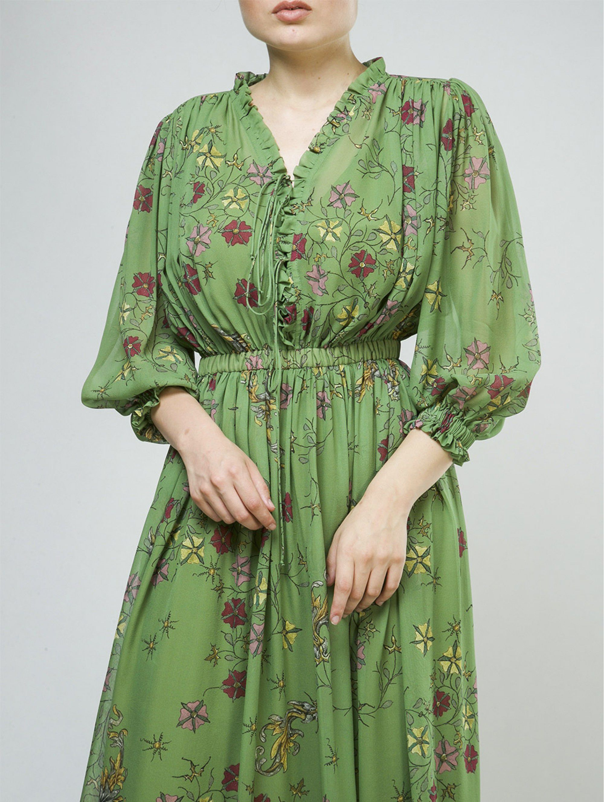 Alena Akhmadullina Green Silky Dress with Floral Print