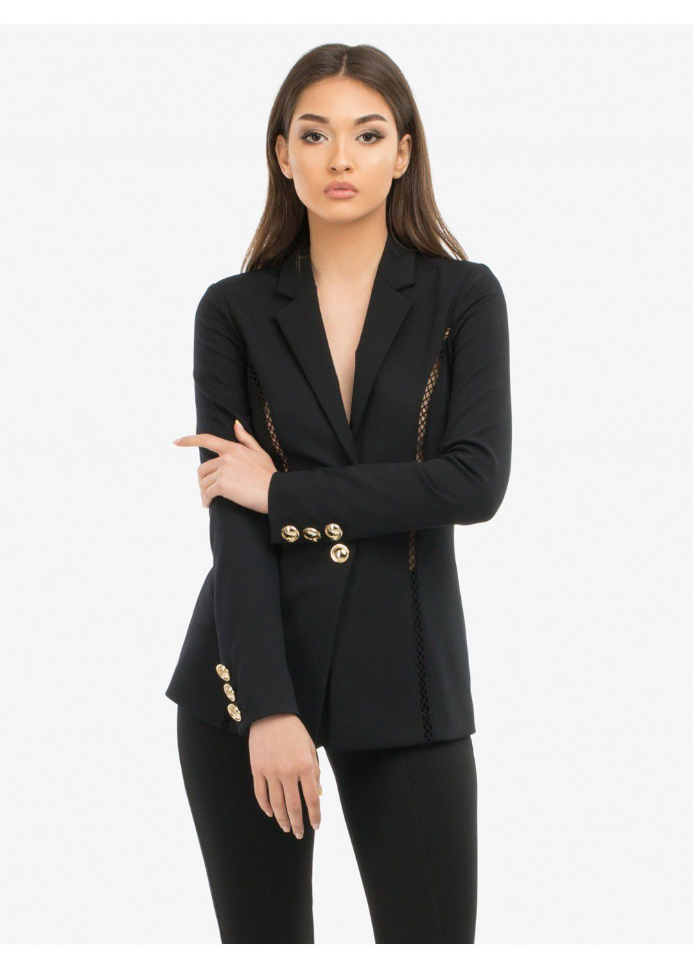 Roberto Cavalli Black Jacket with Gold Buttons