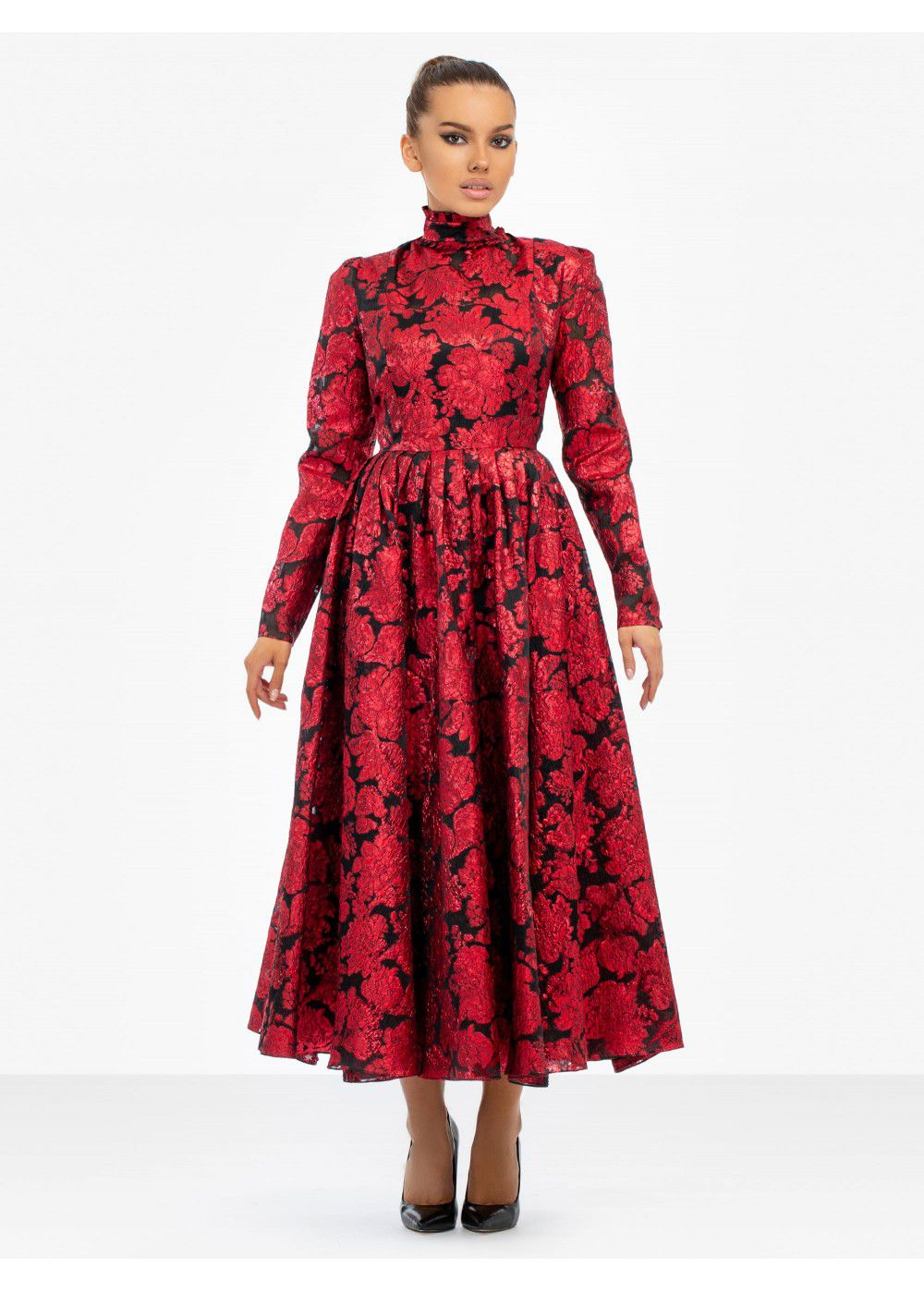 Erdem Tedora Metallic-Floral Silk-Blend Dress