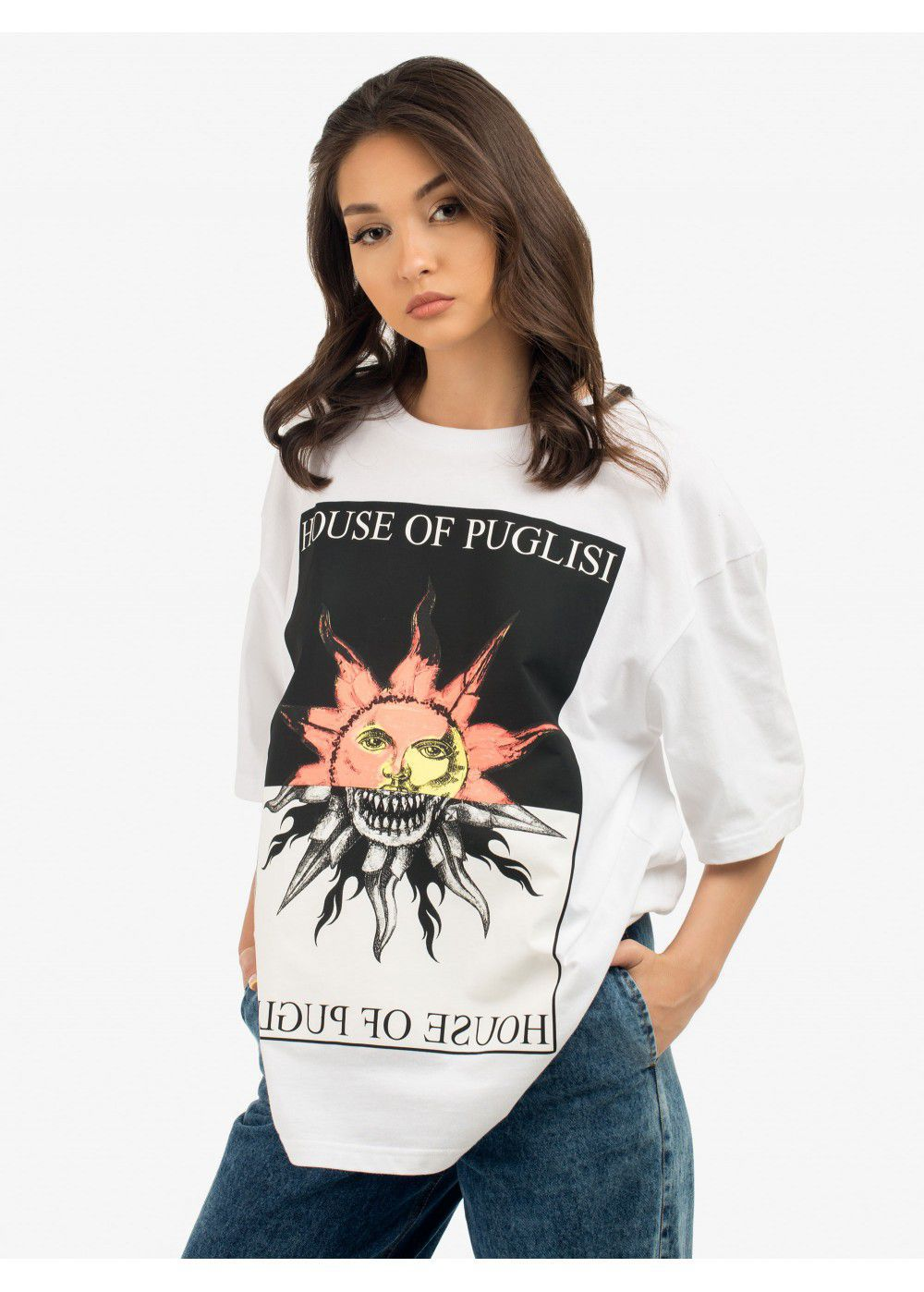 Fausto Puglisi Graphic-Print Crew Neck White T-shirt