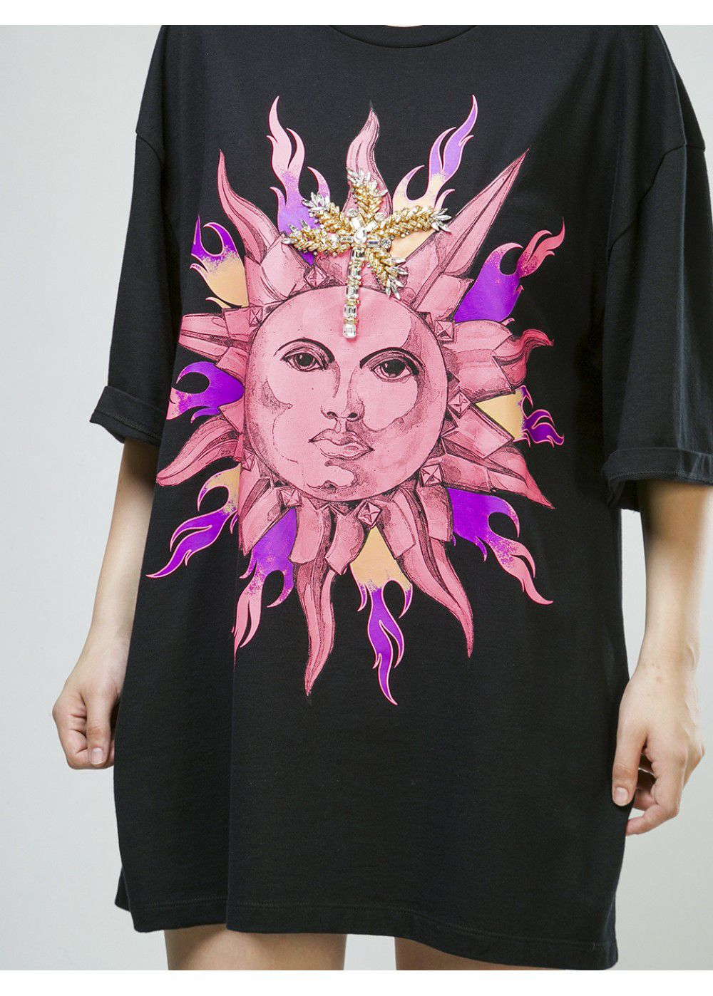 Fausto Puglisi T-Shirt in Black Pink