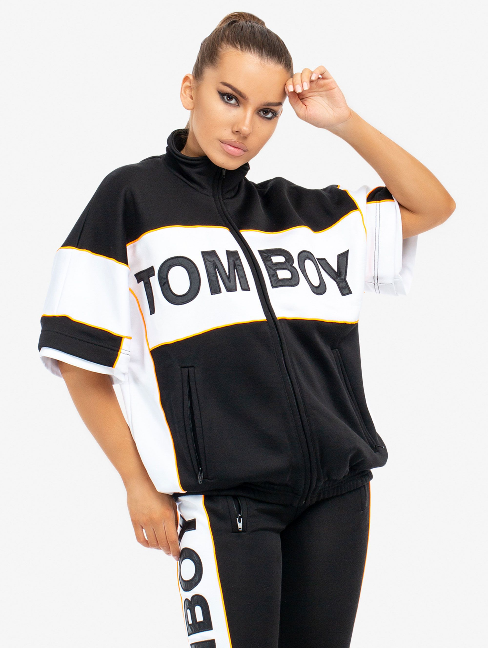 Tomboy Marvin Tracksuit Jacket in Black/White