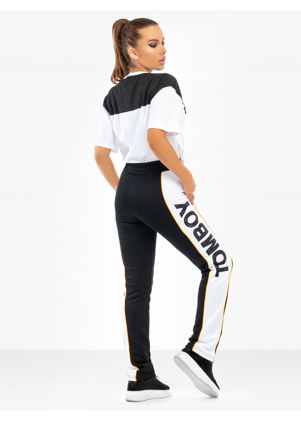 Tomboy Chelsea Tracksuit Pants in Black/White