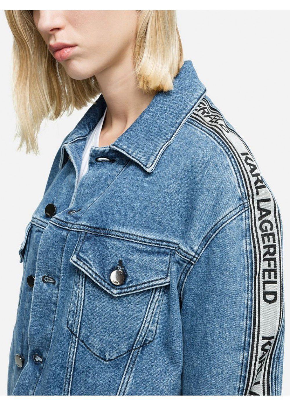 Karl Lagerfeld Logo Tape Denim Jacket