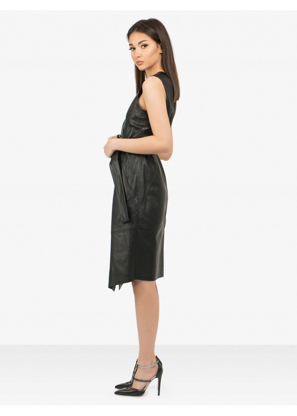 Karl Lagerfeld Leather Wrap Dress