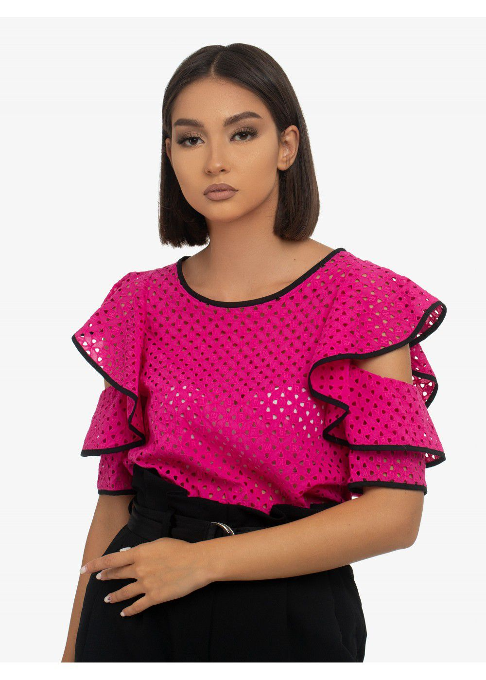 Karl Lagerfeld Broderie Anglaise Top in Fuchsia