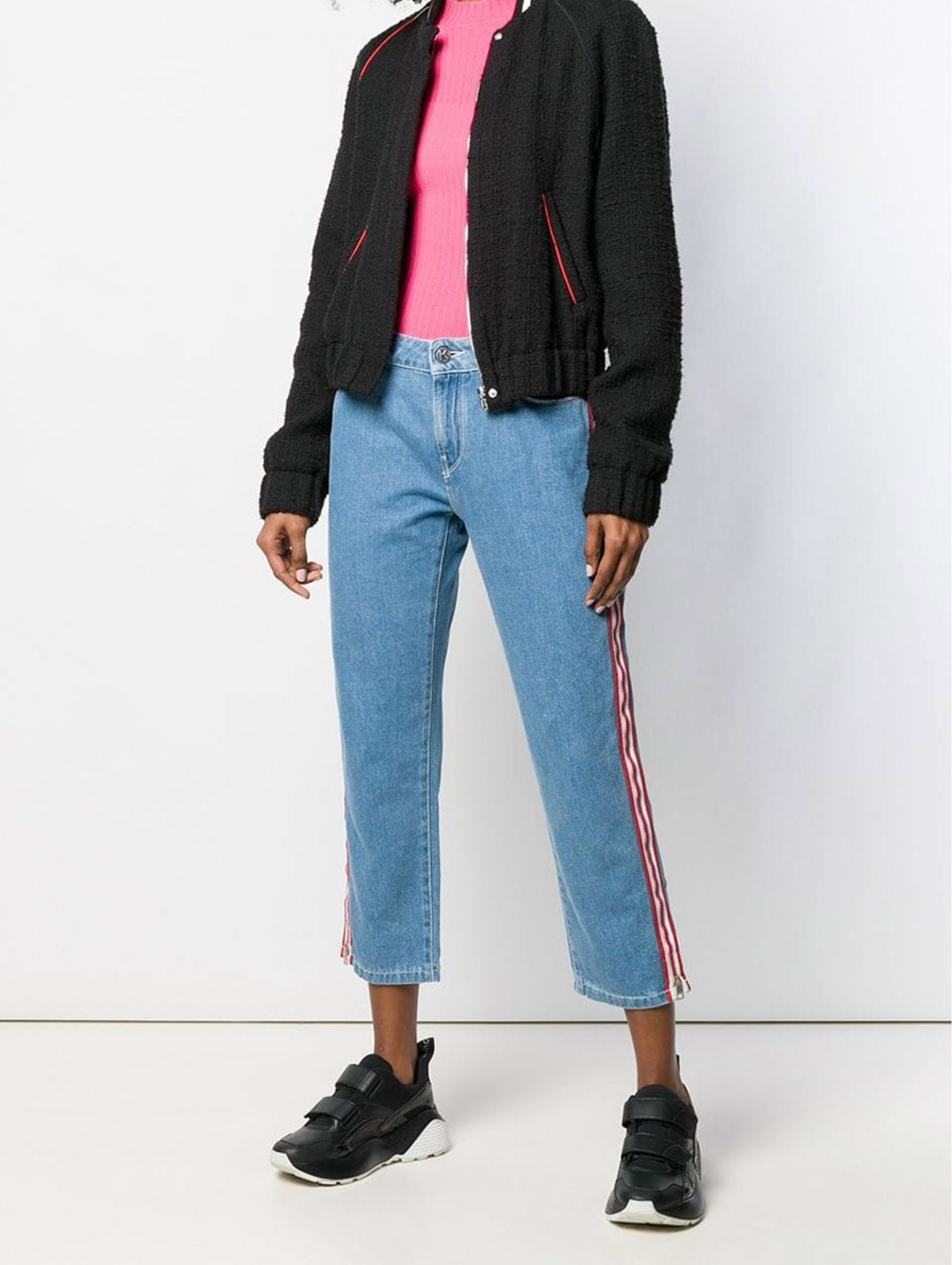 Karl Lagerfeld Striped Appliqués Cropped Jeans