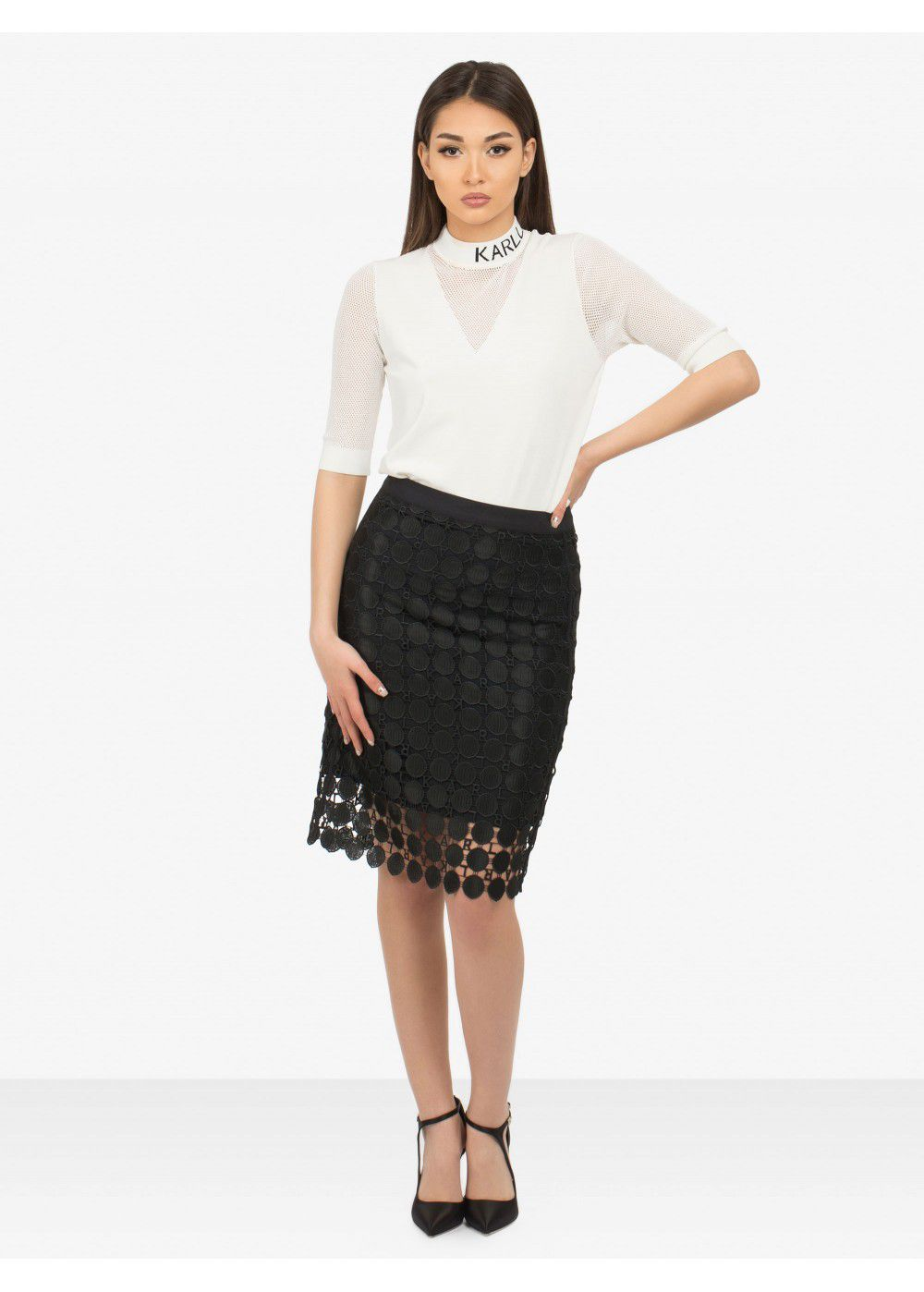 Karl Lagerfeld Circle Logo Lace Skirt