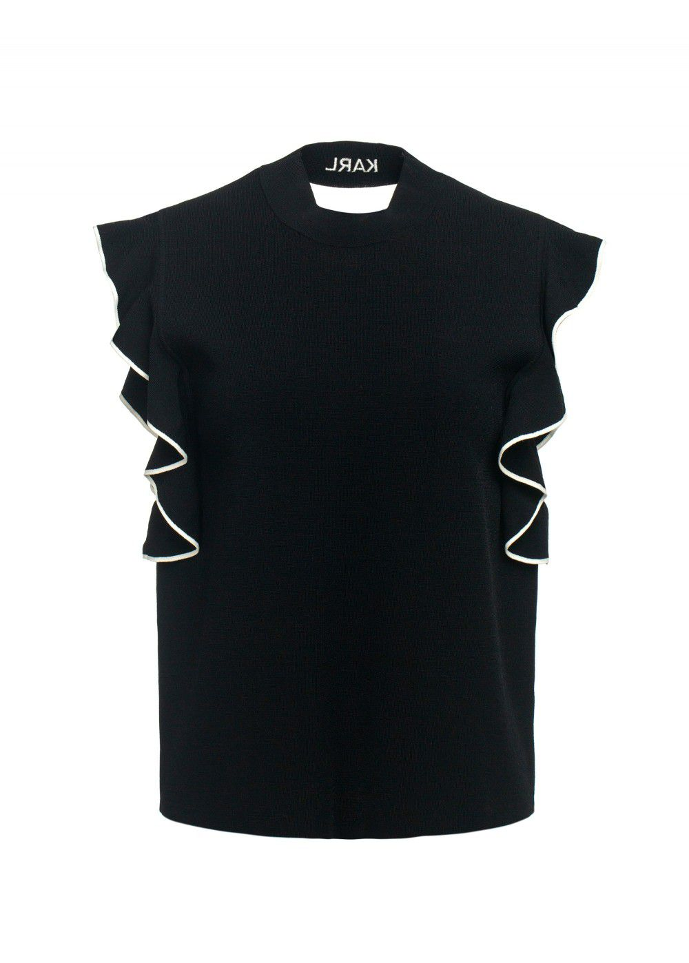 Karl Lagerfeld Colour-Block Ruffle Top in Black