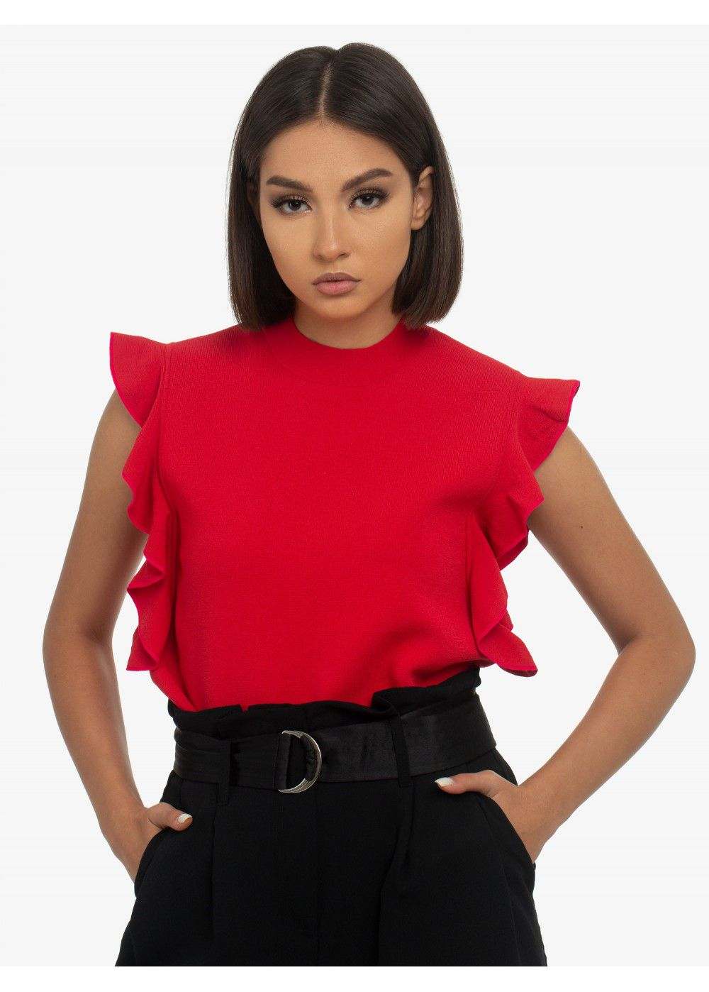 Karl Lagerfeld Colour-Block Ruffle Top in Red
