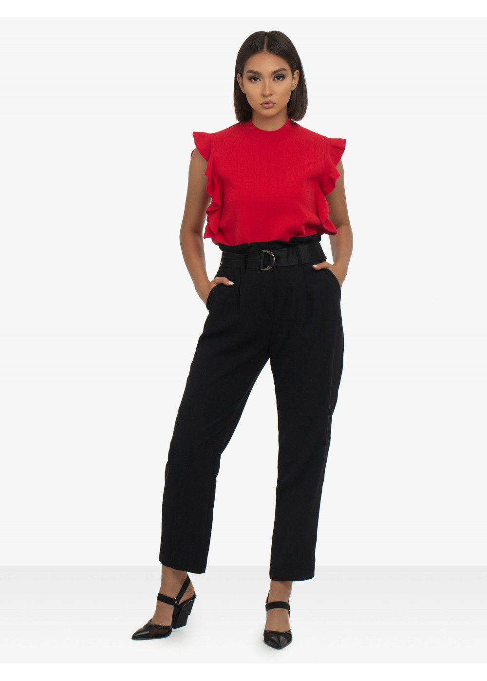 Karl Lagerfeld Colour-Block Ruffle Top