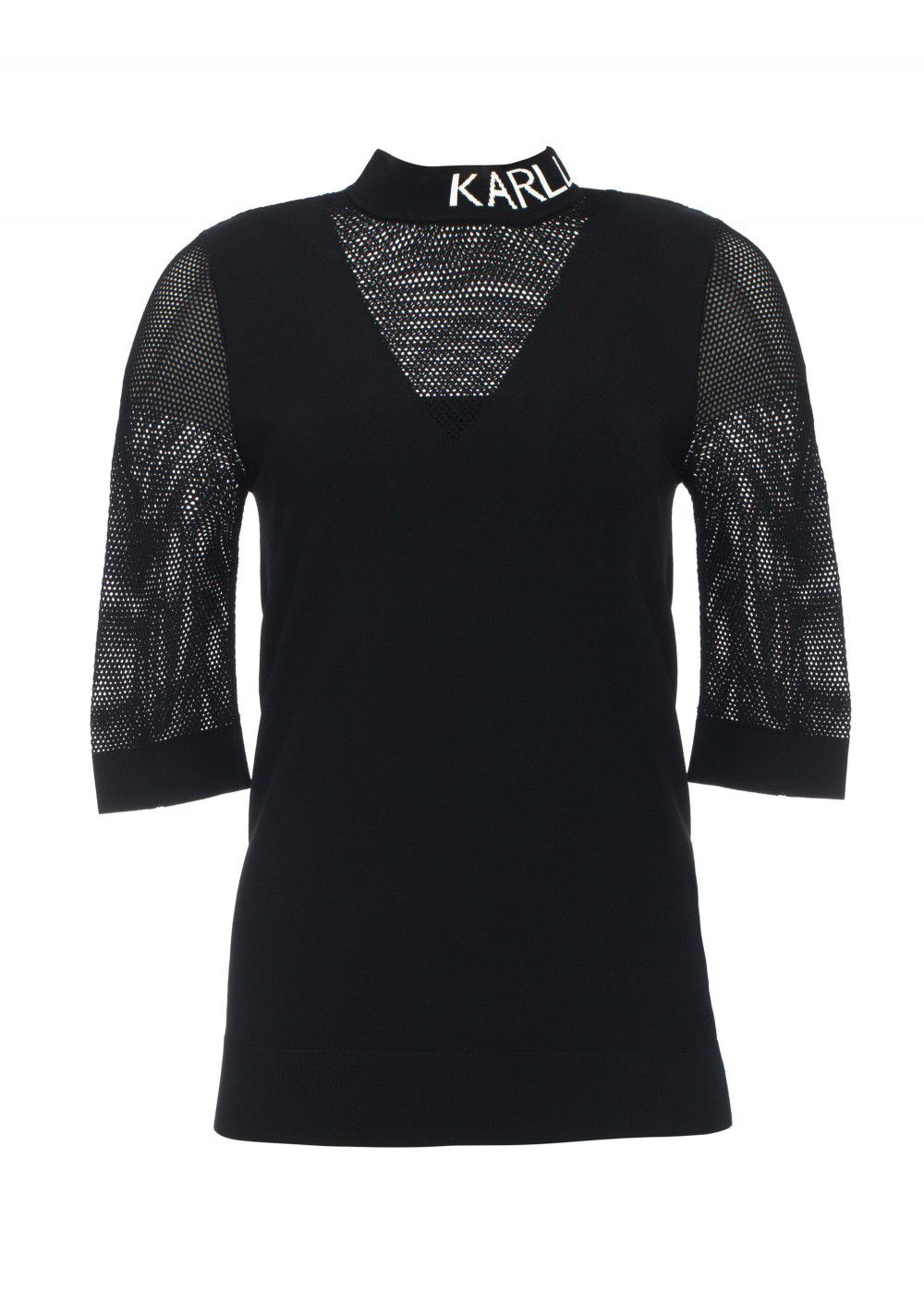 Karl Lagerfeld Logo Mesh Shirt in Black
