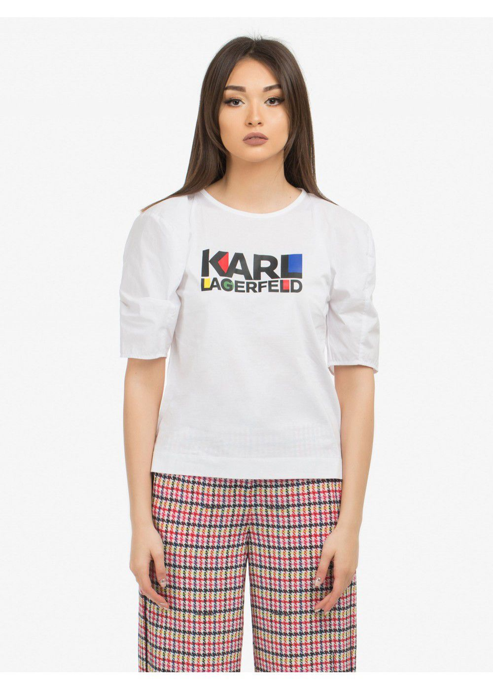 Karl Lagerfeld Puff-Sleeve Bauhaus Top-White