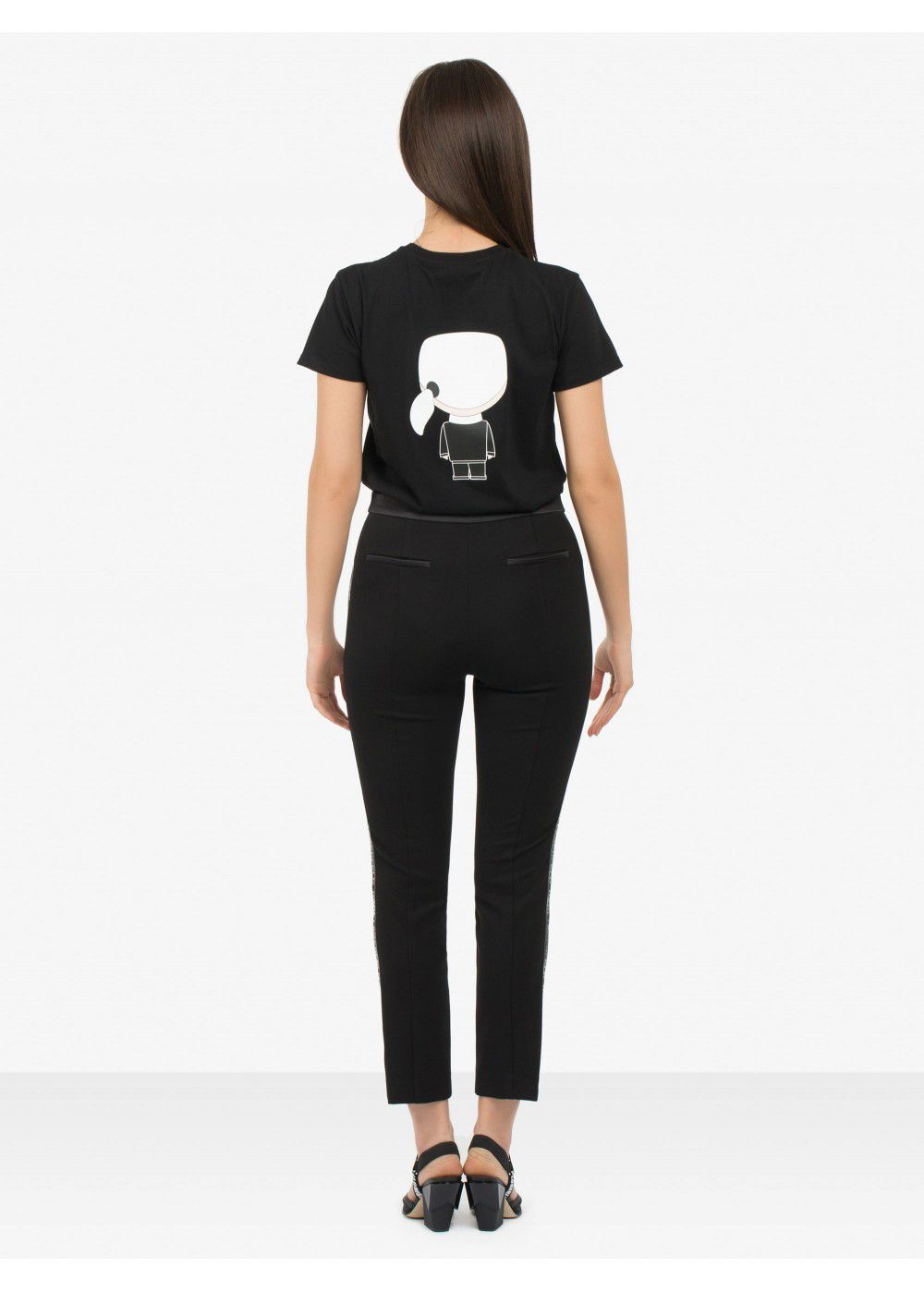 Karl Lagerfeld Slim-Fit Punto Trousers with Logo Tape