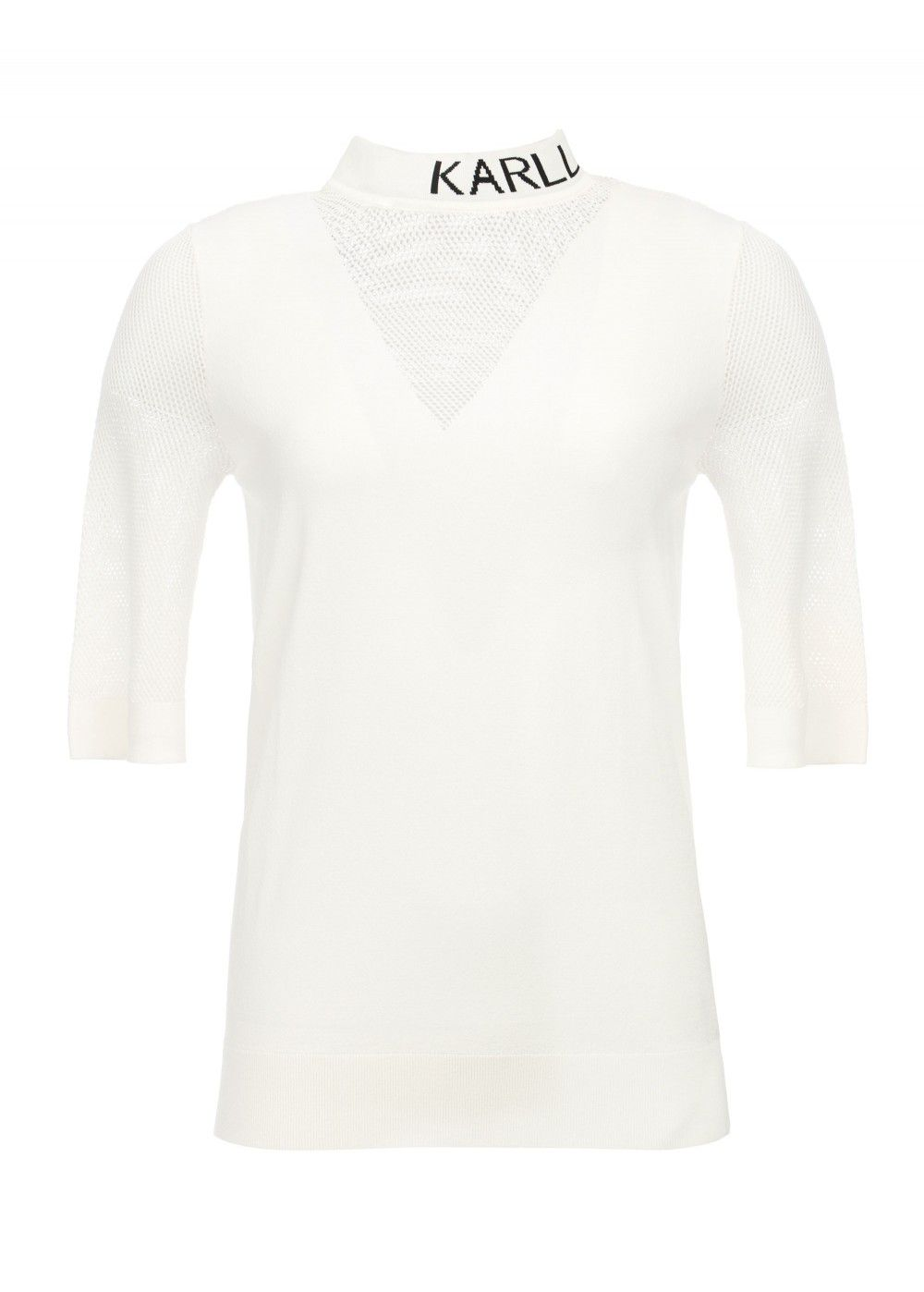Karl Lagerfeld Logo Mesh Shirt in White
