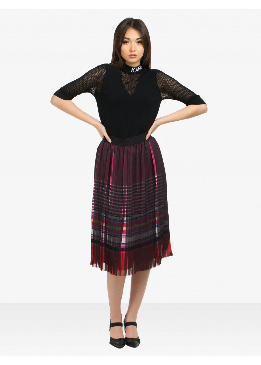 Karl Lagerfeld Striped Pleated Skirt