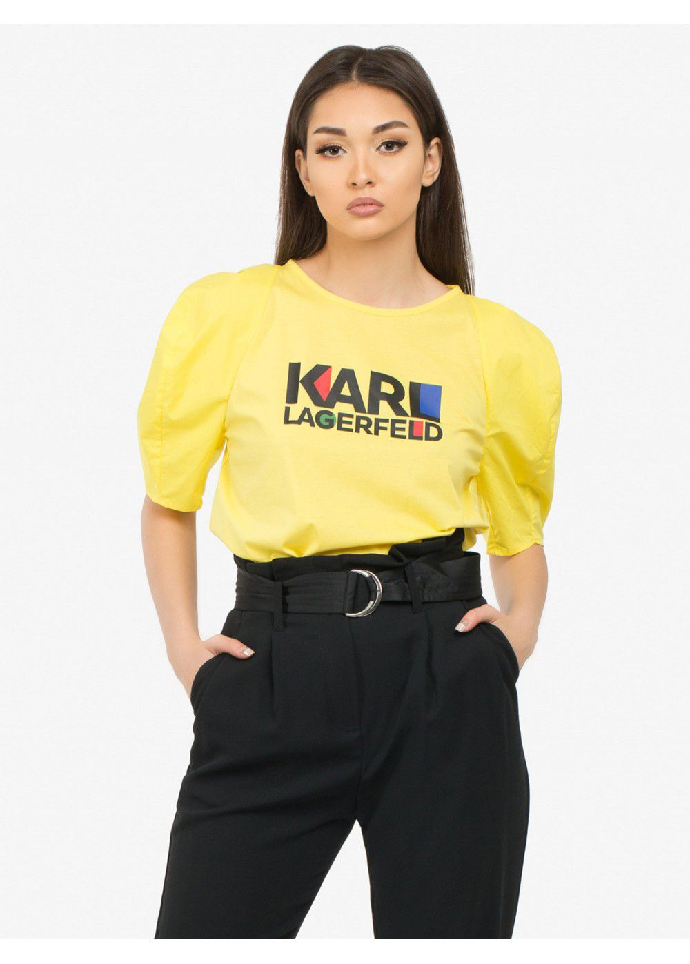 Karl Lagerfeld Puff-Sleeve Bauhaus Top-Yellow