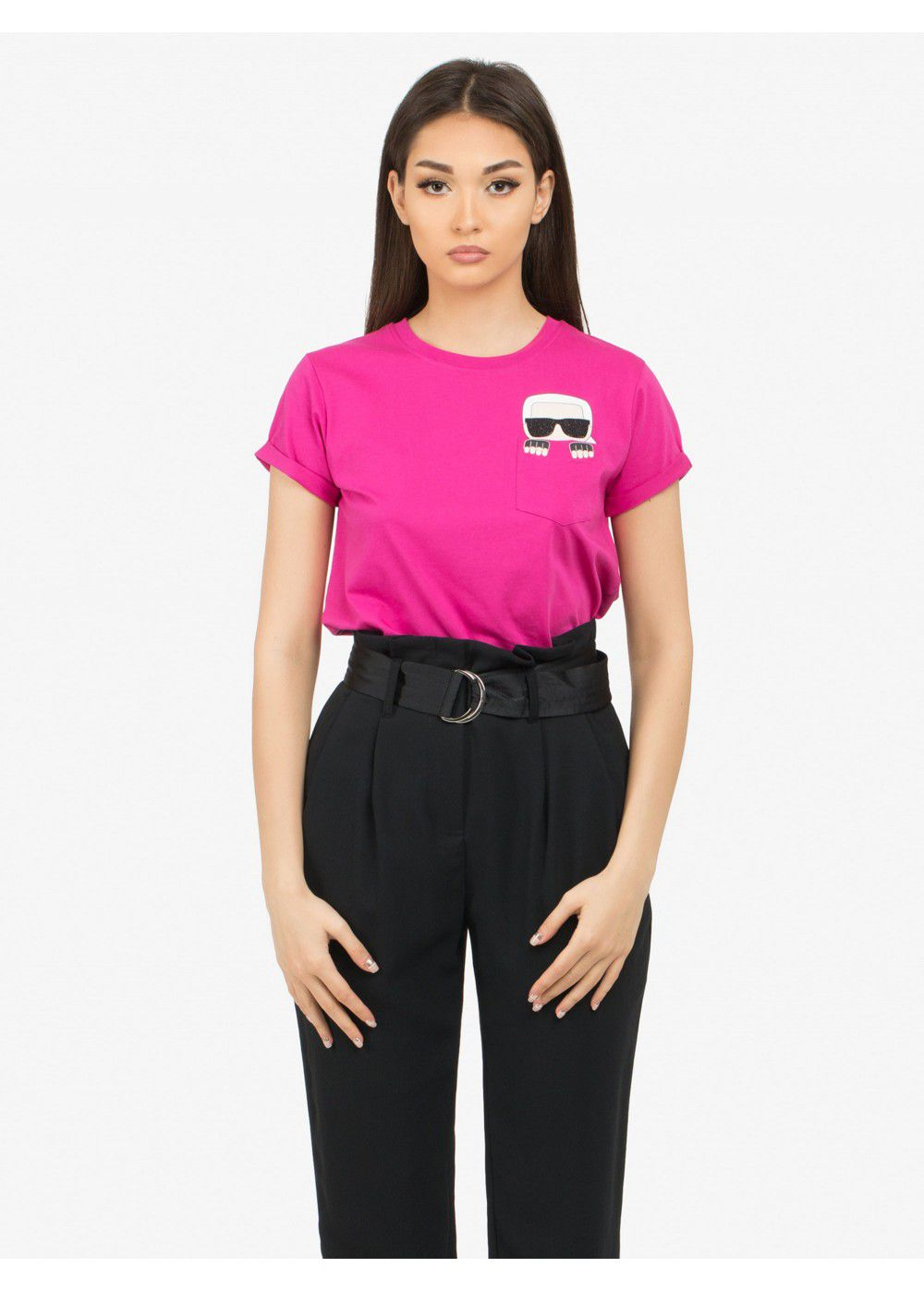 Karl Lagerfeld Ikonik Pocket T-Shirt in Fuschia