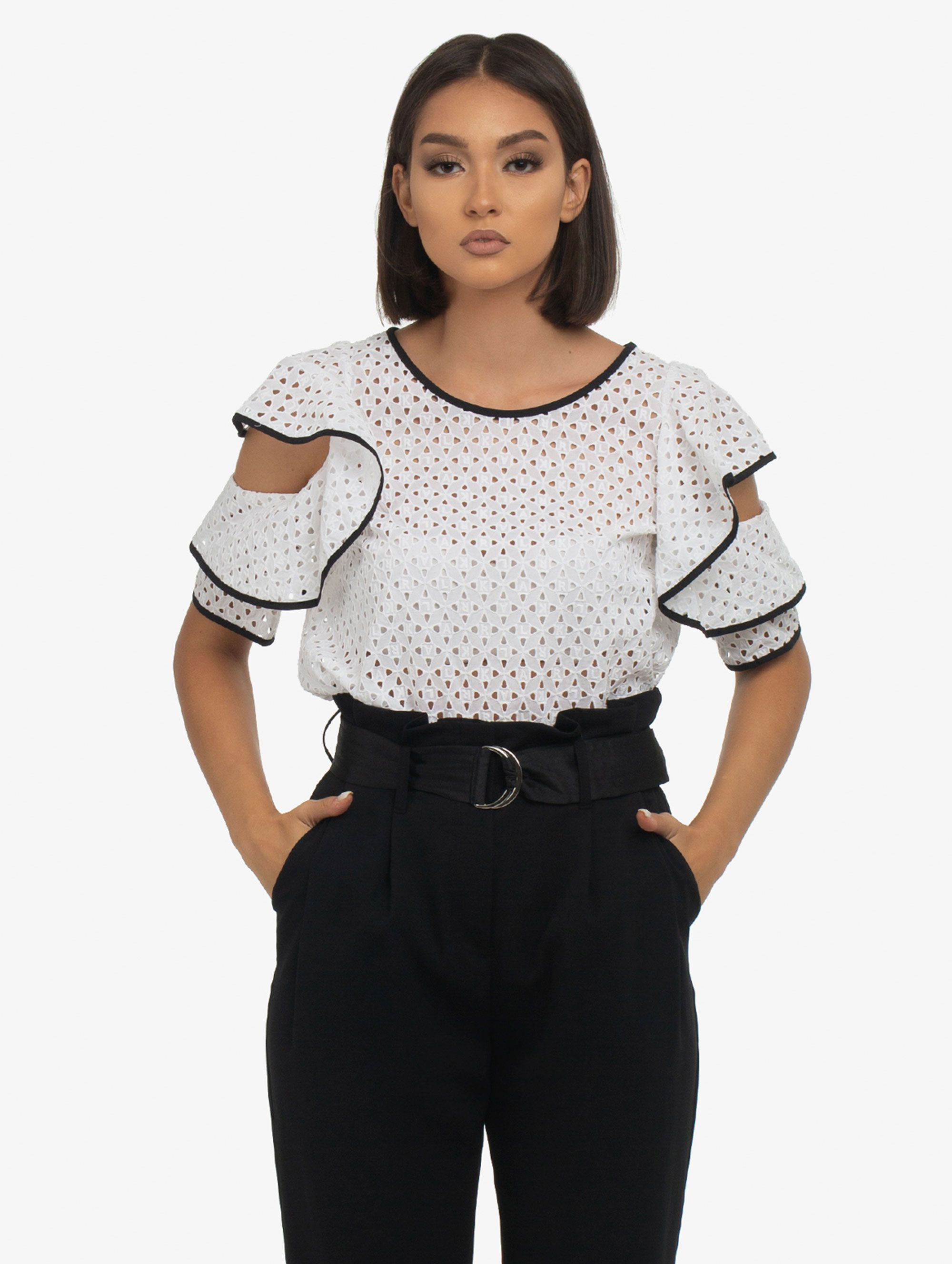 Karl Lagerfeld Broderie Anglaise Top in White