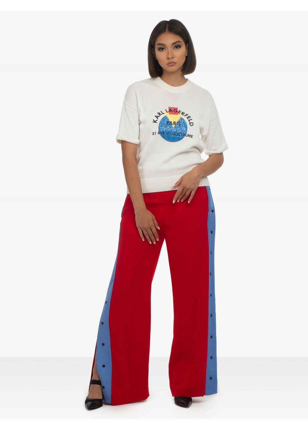 Karl Lagerfeld Wide-Leg Snap Pants