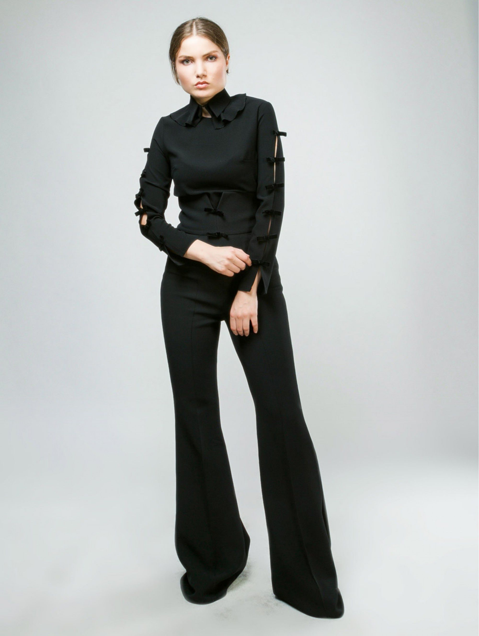 Maleone Black Shirt with Bows and Collar