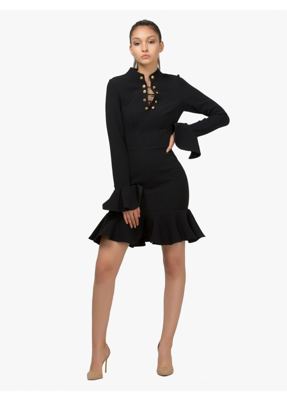 Maleone Black Wavy Dress on Buttons