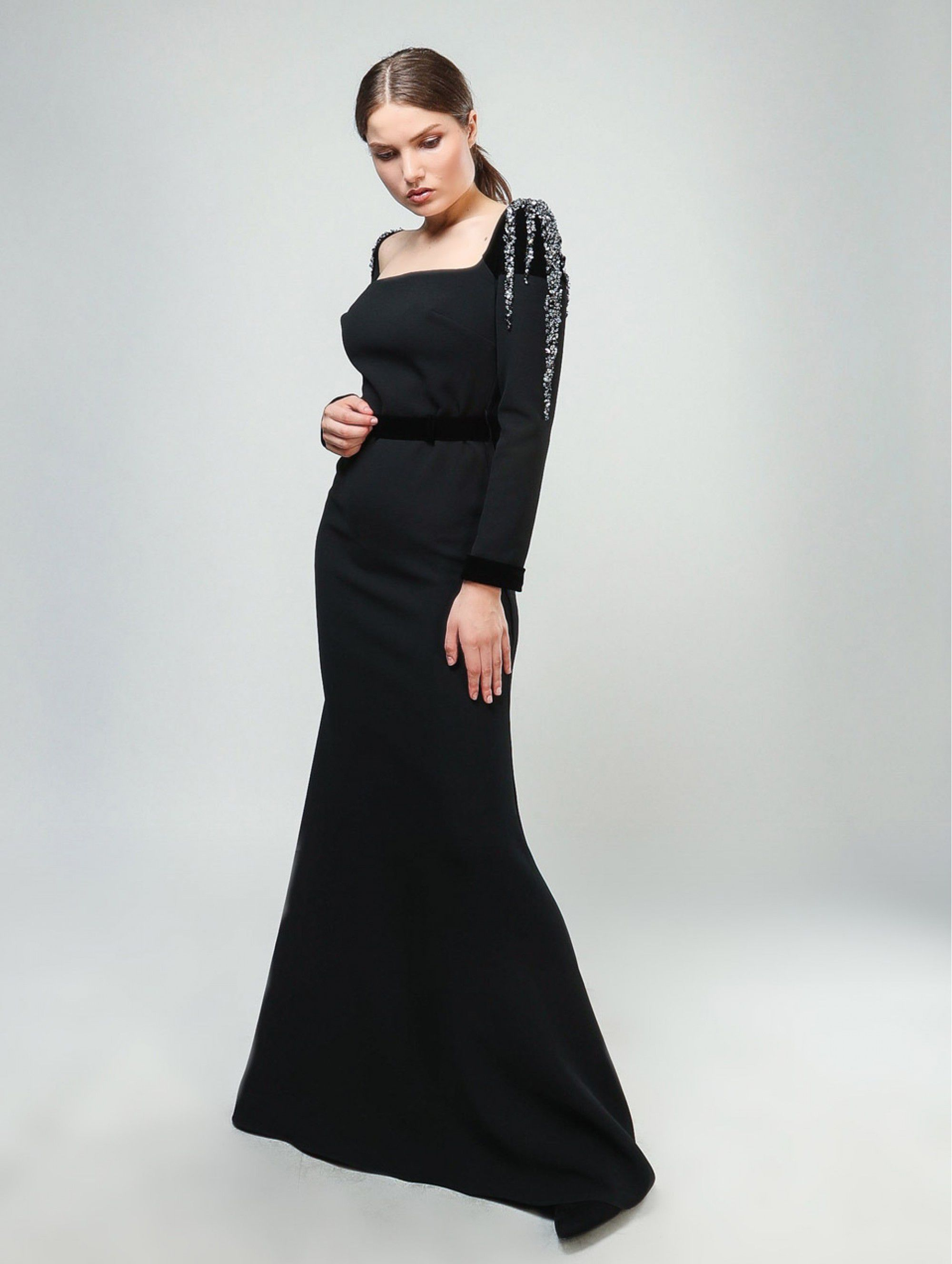 Maleone Black Dress with Stones and Strap