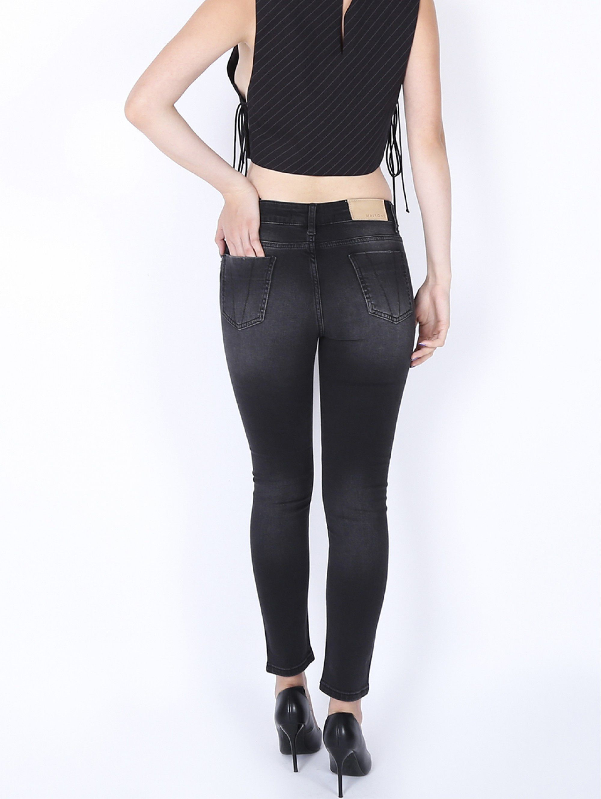 Maleone Jeans on the hip Gray
