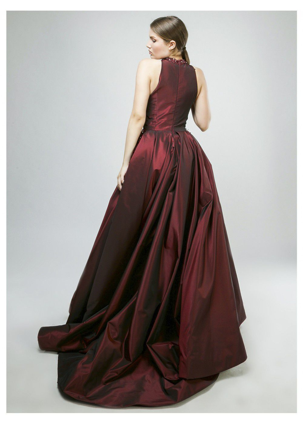 Maleone Bordeaux Dress with Stones