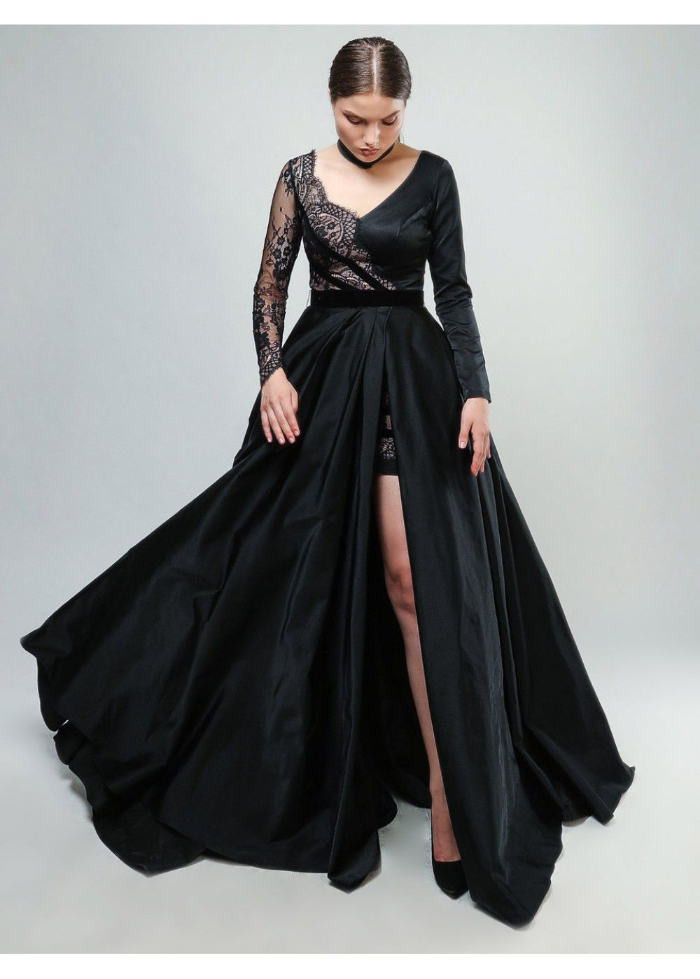 Maleone Dress Black with Guipure