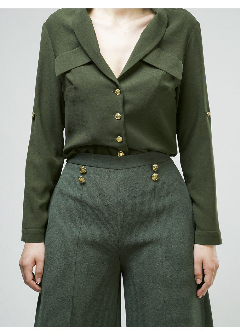 Maleone Pants with Buttons in Khaki