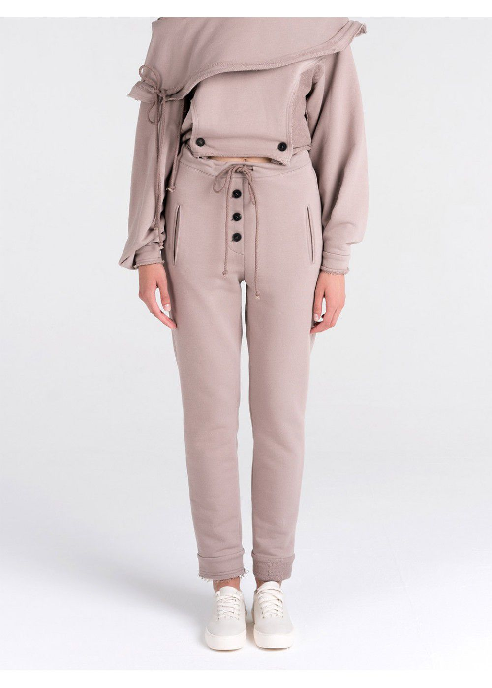Ruban Drawstring Pants in Beige
