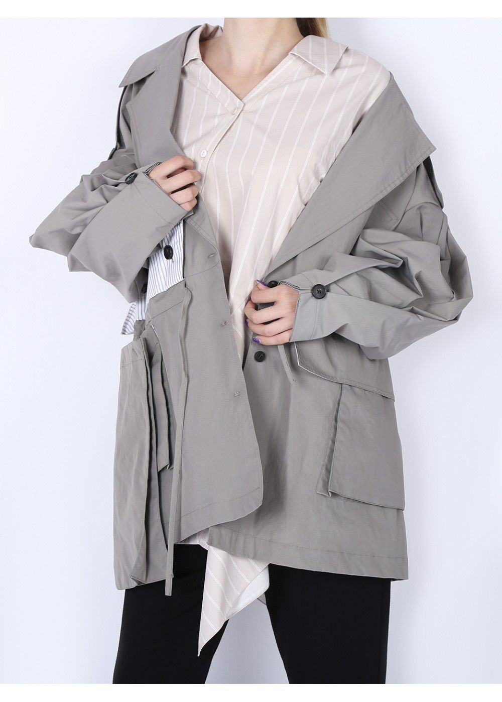 Ruban Oversized Jacket in Grey