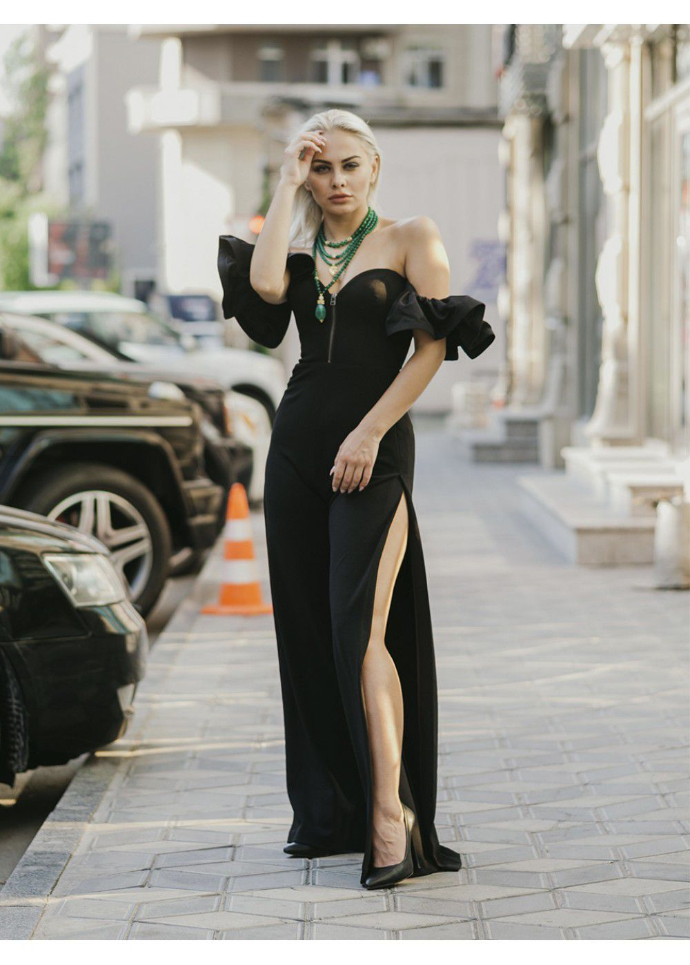 Vatanika Ruffled Black Jumpsuit