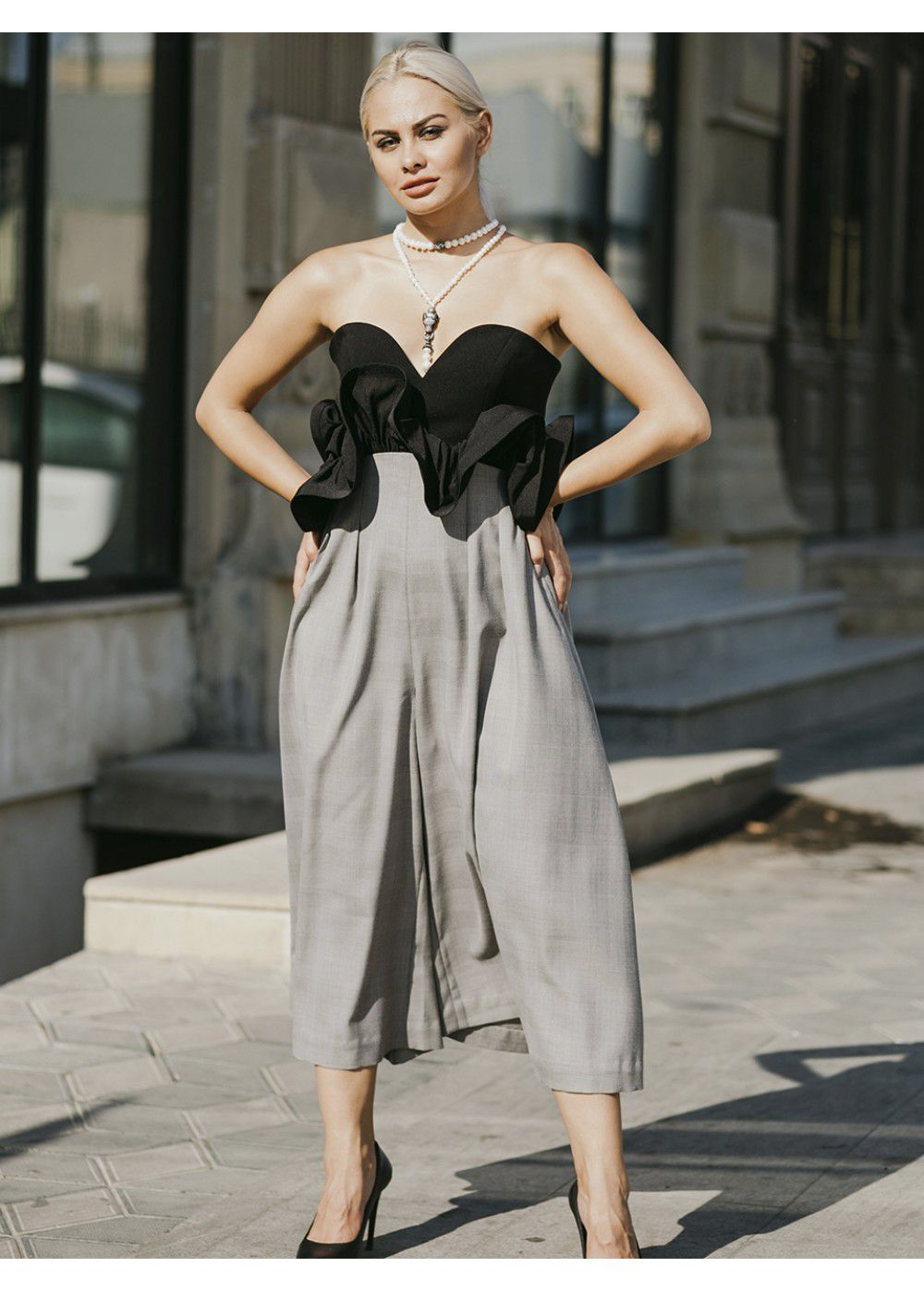 Vatanika Ruffled Black-Grey Jumpsuit
