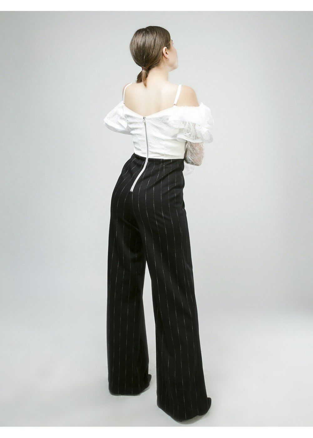 Vatanika Ruffled Black White Jumpsuit