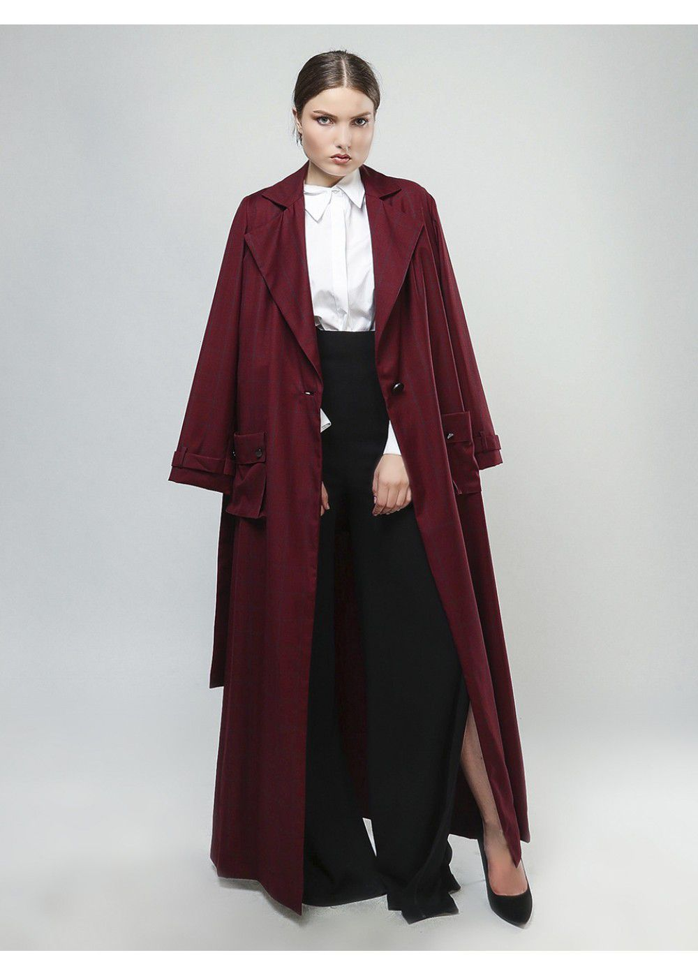 Vatanika Trench Coat in Burgundy