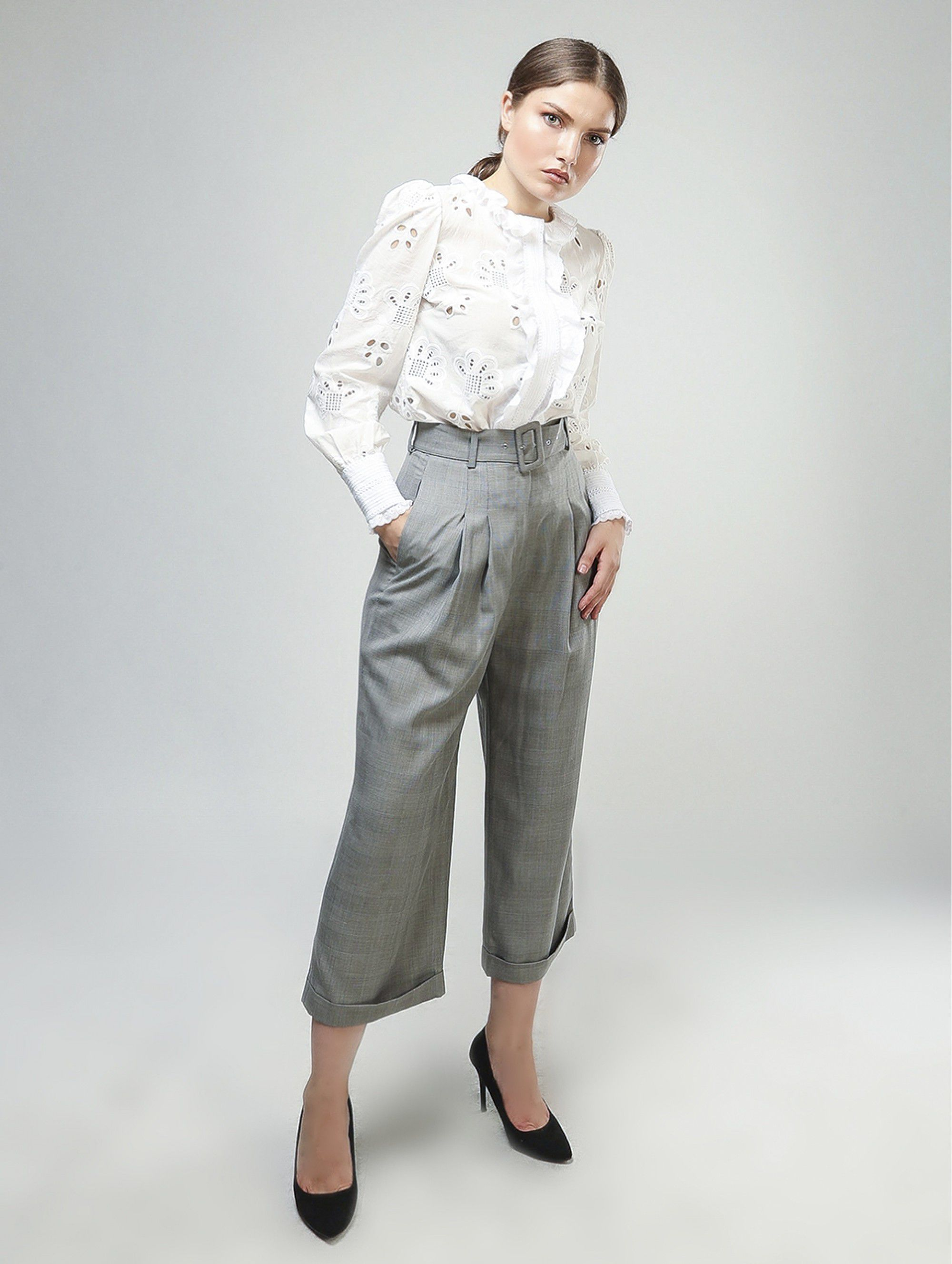 Vatanika High Weisted Pants in Grey